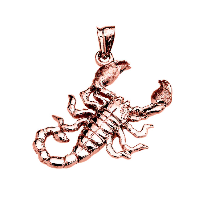 Rose Gold Detailed Sideways Scorpion Pendant
