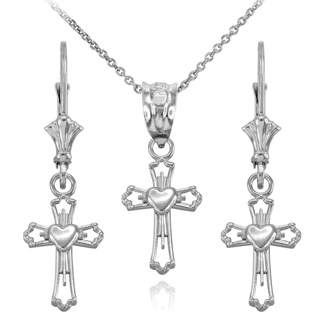 14k White Gold Heart Cross Necklace and Earring Set