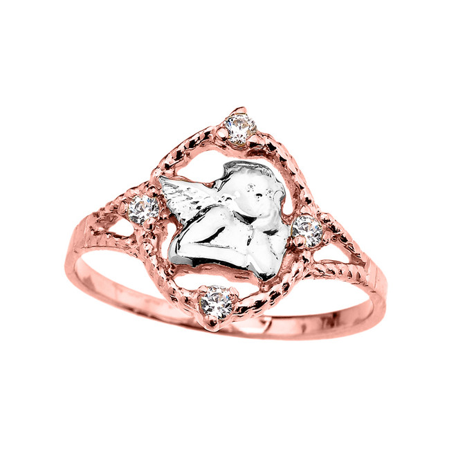 Rose Gold Rope Design Angel with Cubic Zirconia Ladies Ring