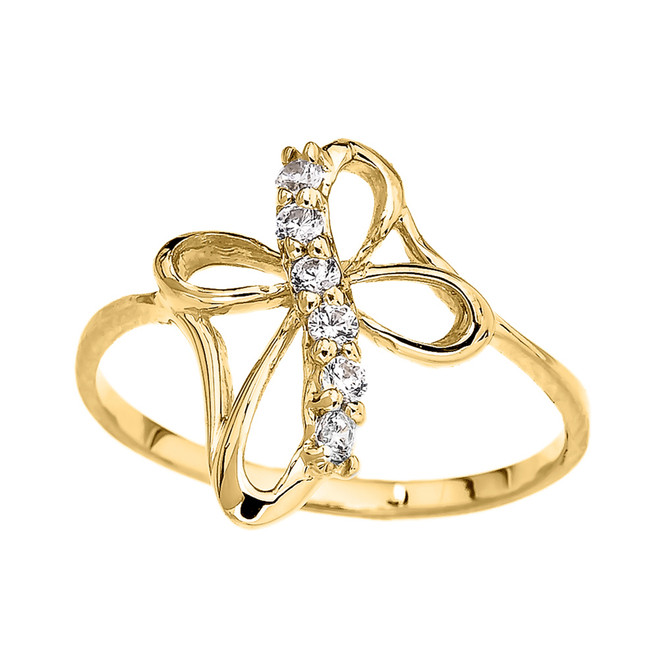 Yellow Gold Dainty Cubic Zirconia Modern Cross Ring