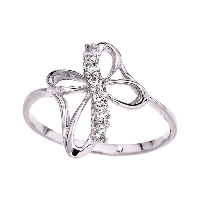 White Gold Dainty Cubic Zirconia Modern Cross Ring