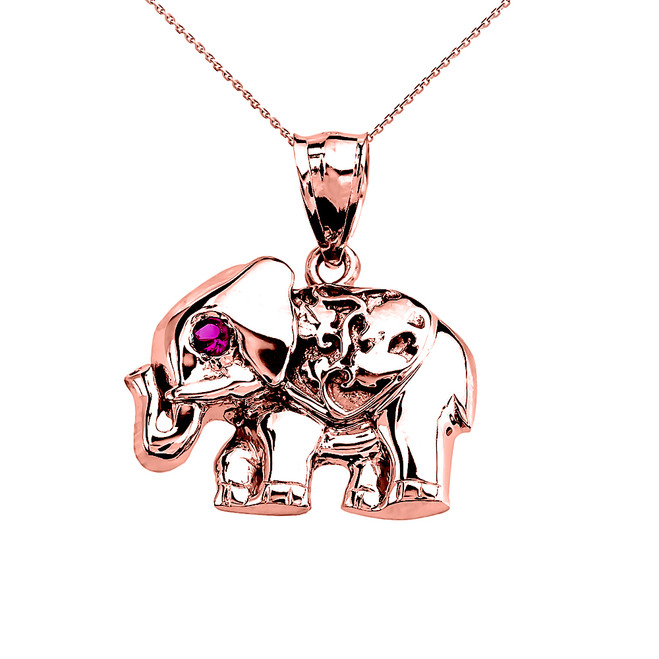 Rose Gold Red CZ Elephant Pendant Necklace