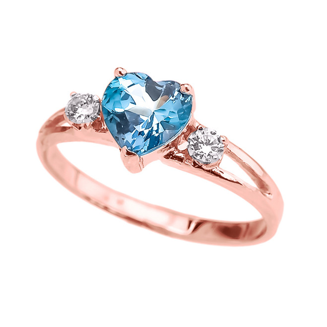 Rose Gold December Birthstone CZ Heart Proposal/Promise Ring
