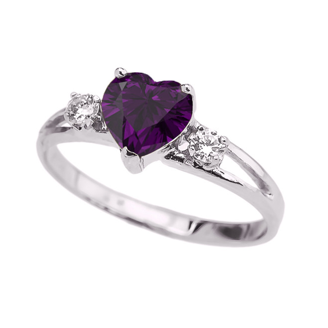 White Gold February Birthstone CZ Heart Proposal/Promise Ring