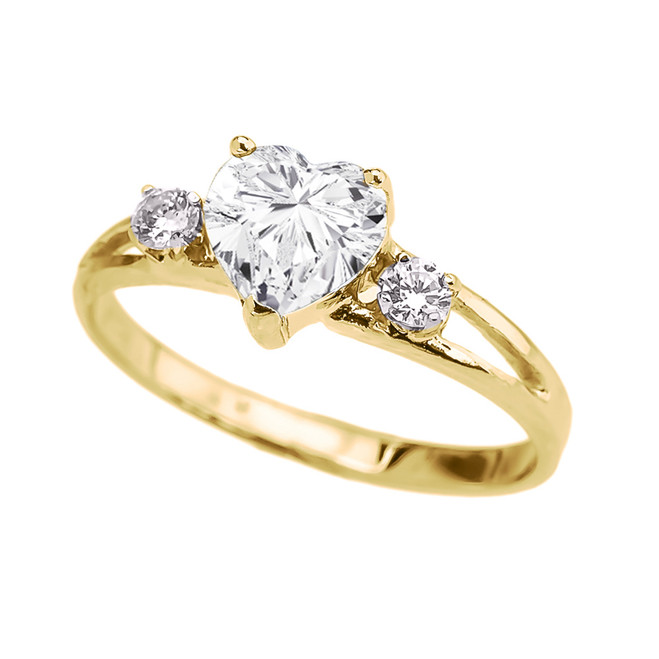 Yellow Gold Cubic Zirconia Heart Proposal/Promise Ring