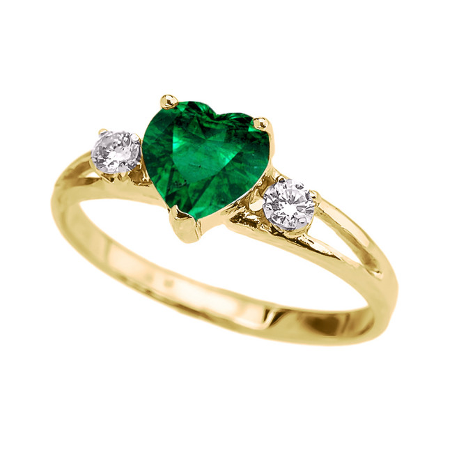 Yellow Gold White Topaz And  (LCE) Emerald Heart Proposal/Promise Ring