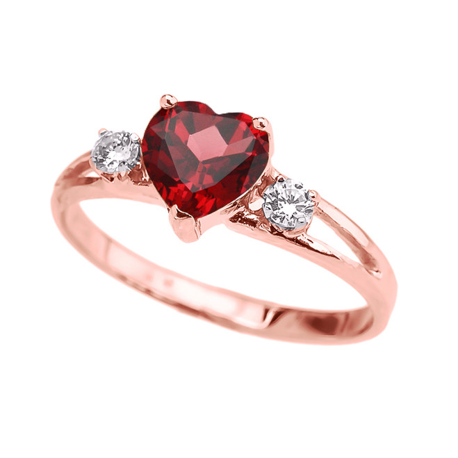 Rose Gold Heart (LCR) Ruby And White Topaz Proposal/Promise Ring
