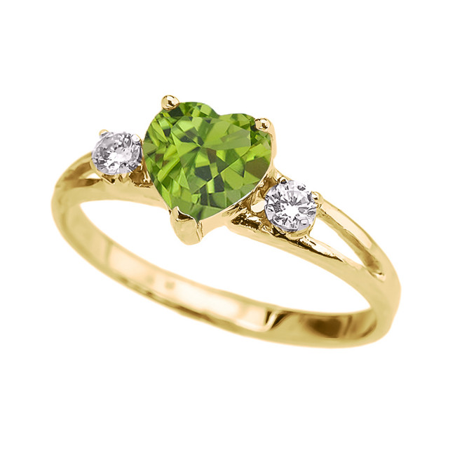 Yellow Gold Peridot Heart Proposal/Promise Ring