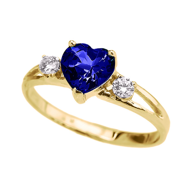 Yellow Gold (LCS) Sapphire Heart Proposal/Promise Ring