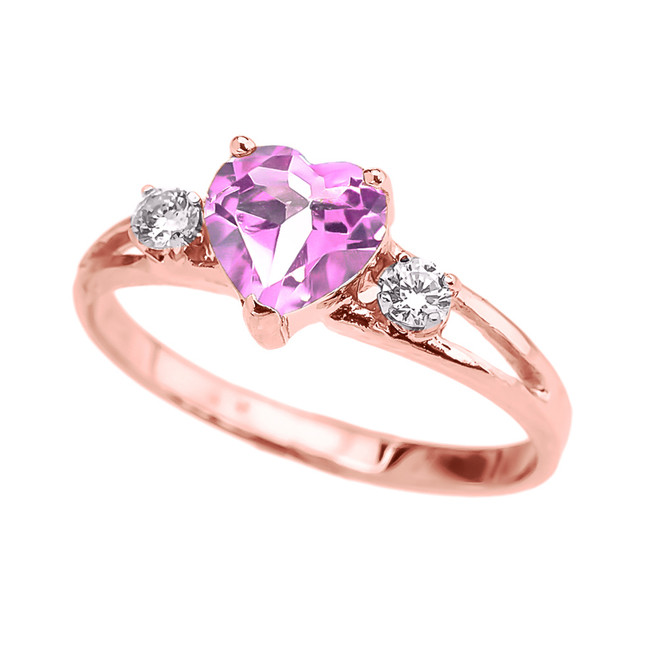 Rose Gold CZ Pink Heart Proposal/Promise Ring