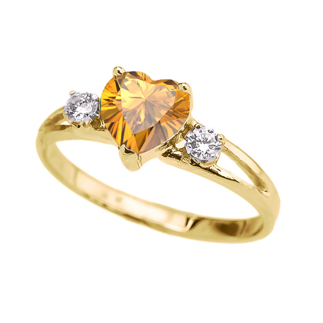 Yellow Gold Citrine Heart Proposal/Promise Ring