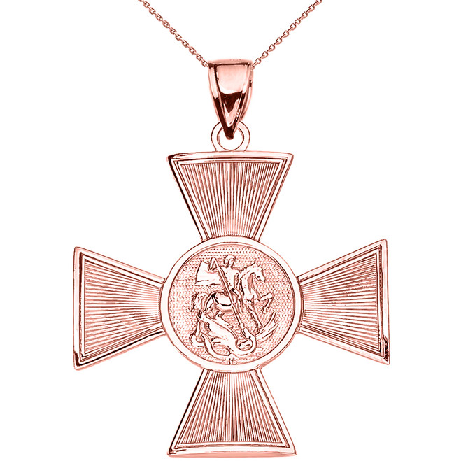 Rose Gold Saint George Russian Cross Pendant Necklace