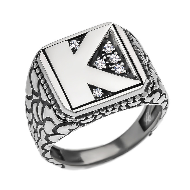 """Sterling Silver CZ Men's Initial """"K"""" Nugget Ring"""
