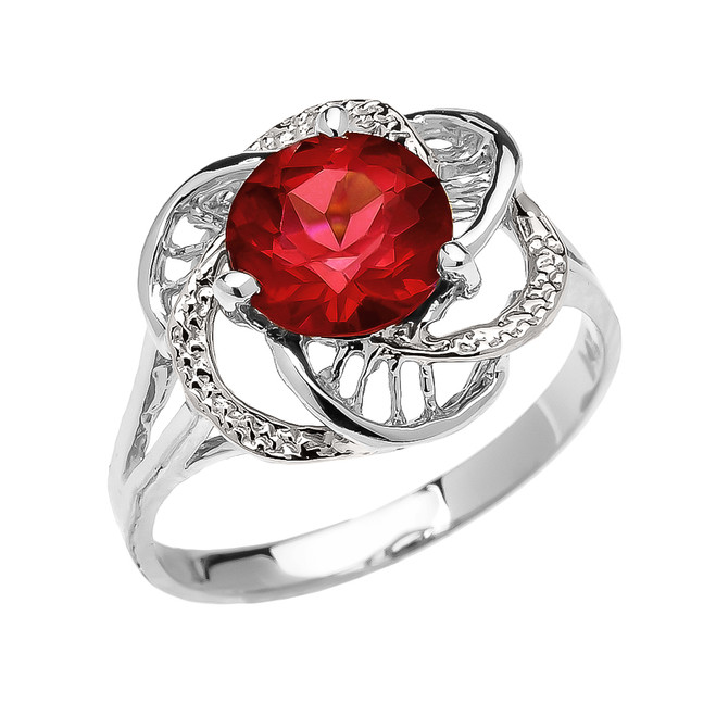 White Gold Garnet Solitaire Modern Flower Ladies Ring