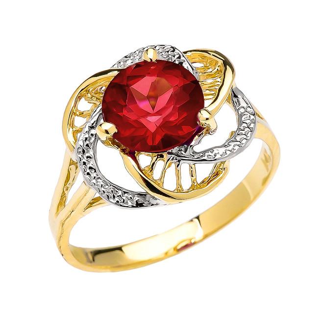 Yellow Gold Garnet Solitaire Modern Flower Ladies Ring