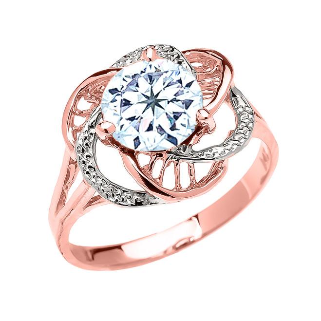 Rose Gold CZ Aquamarine Solitaire Modern Flower Ladies Ring