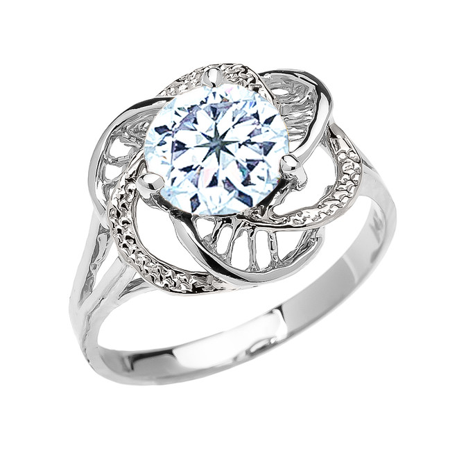 White Gold CZ Aquamarine Solitaire Modern Flower Ladies Ring