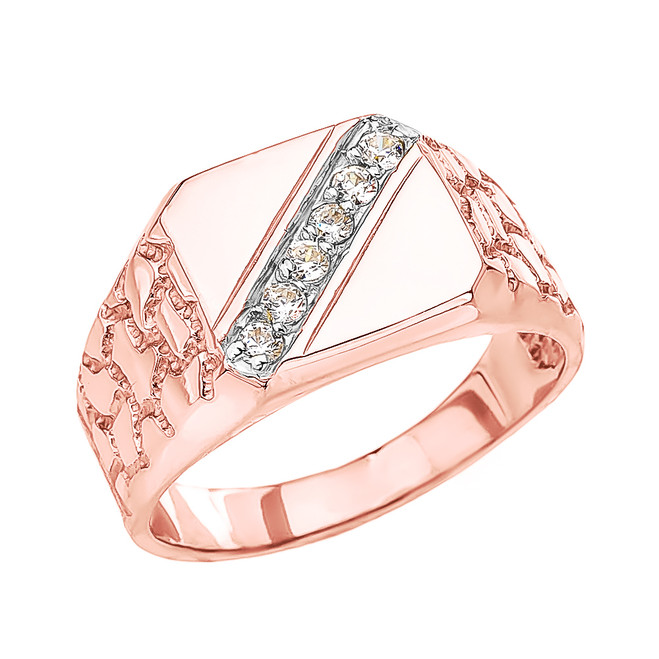 Rose Gold Cubic Zirconia Signet Men's Nugget Ring