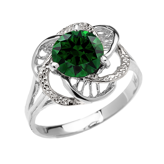 White Gold  (LCE) Emerald Solitaire Modern Flower Ladies Ring