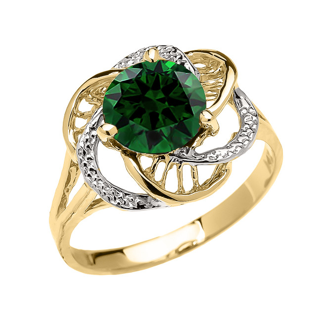 Yellow Gold  (LCE) Emerald Solitaire Modern Flower Ladies Ring