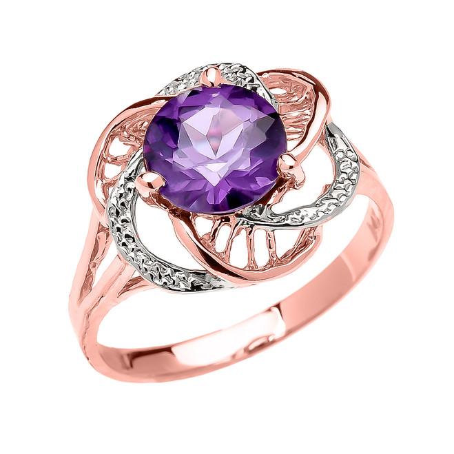 Rose Gold CZ Alexandrite Solitaire Modern Flower Ladies Ring