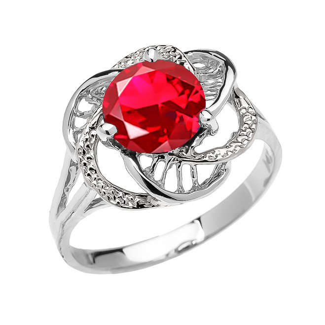 White Gold (LCR) Ruby Solitaire Modern Flower Ladies Ring