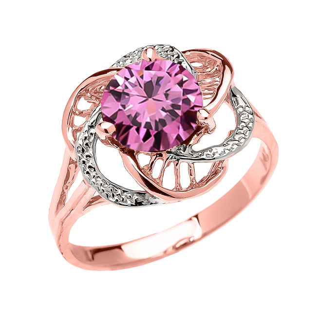 Rose Gold Pink CZ Solitaire Modern Flower Ladies Ring