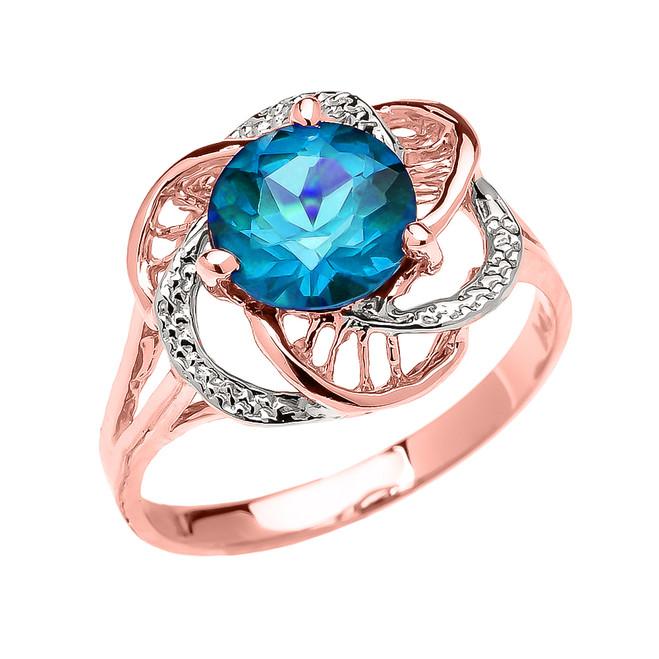 Rose Gold CZ Blue Topaz Solitaire Modern Flower Ladies Ring