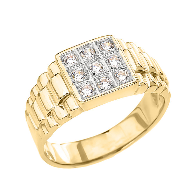 Yellow Gold Diamond Men's Ring With Watch Band Design