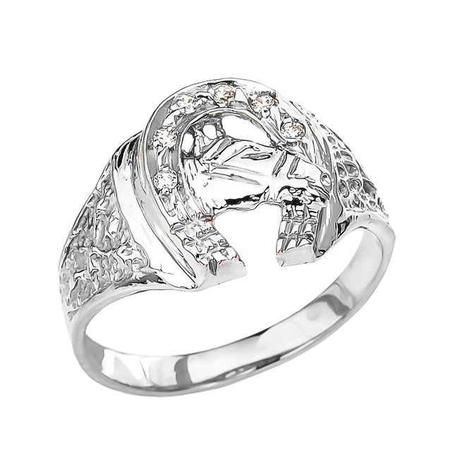White Gold Diamond Horseshoe with Horse Head Ring