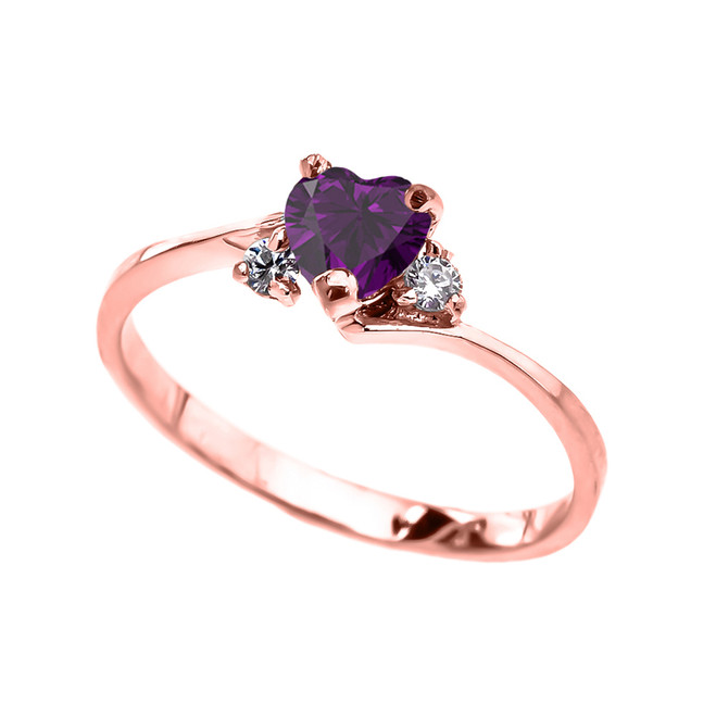 Dainty Rose Gold CZ Amethyst Heart Promise Ring