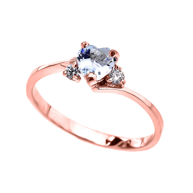 Dainty Rose Gold Aquamarine CZ Heart Promise Ring