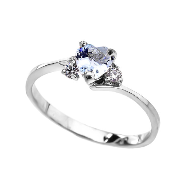 Dainty White Gold Aquamarine CZ  Heart Promise Ring
