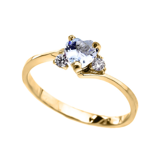 Dainty Yellow Gold Aquamarine CZ   Heart Promise Ring