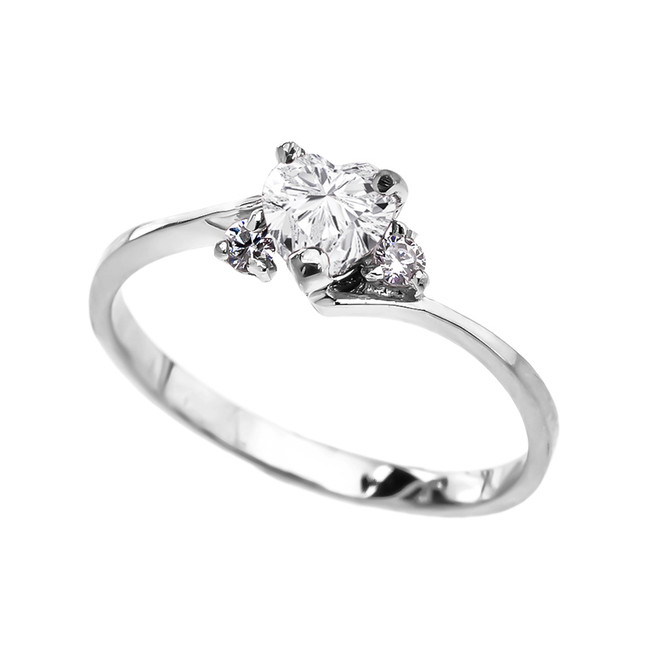 Dainty White Gold CZ Heart Promise Ring