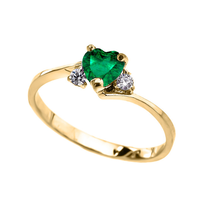 Dainty Yellow Gold  (LCE) Emerald Heart Promise Ring