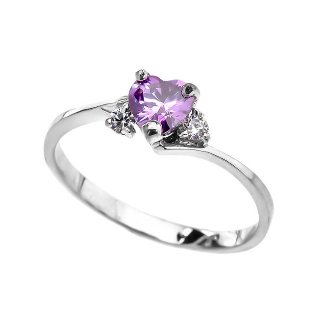 Dainty White Gold CZ Alexandrite Heart Promise Ring