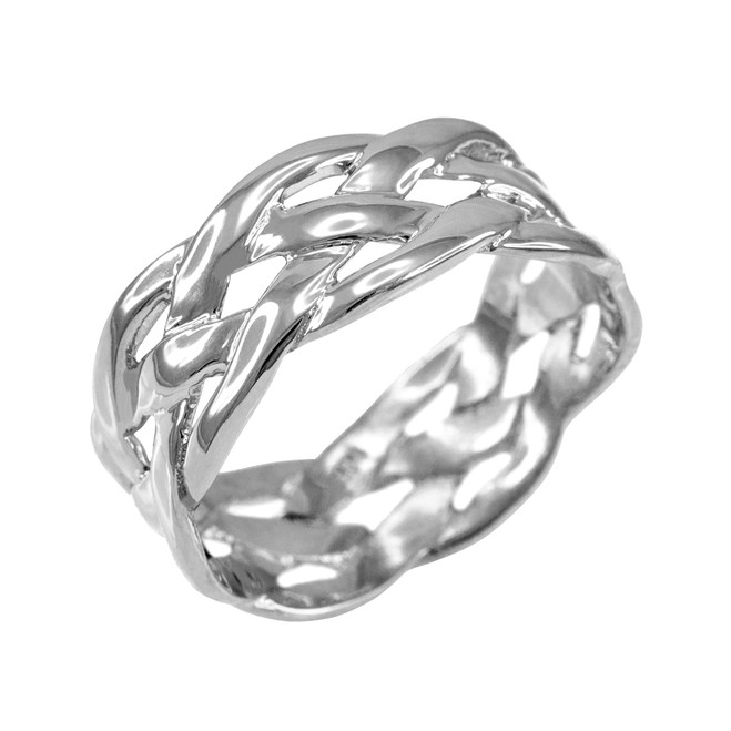 Polished White Gold Celtic Weave Wedding Band