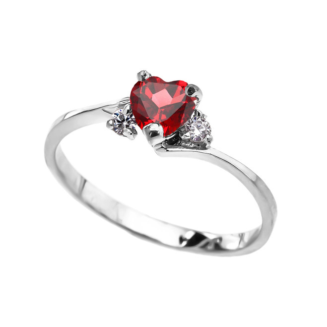Dainty White Gold (LCR) Ruby Heart Promise Ring