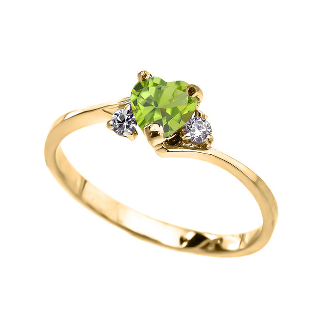Dainty Yellow Gold CZ Peridot Heart Promise Ring