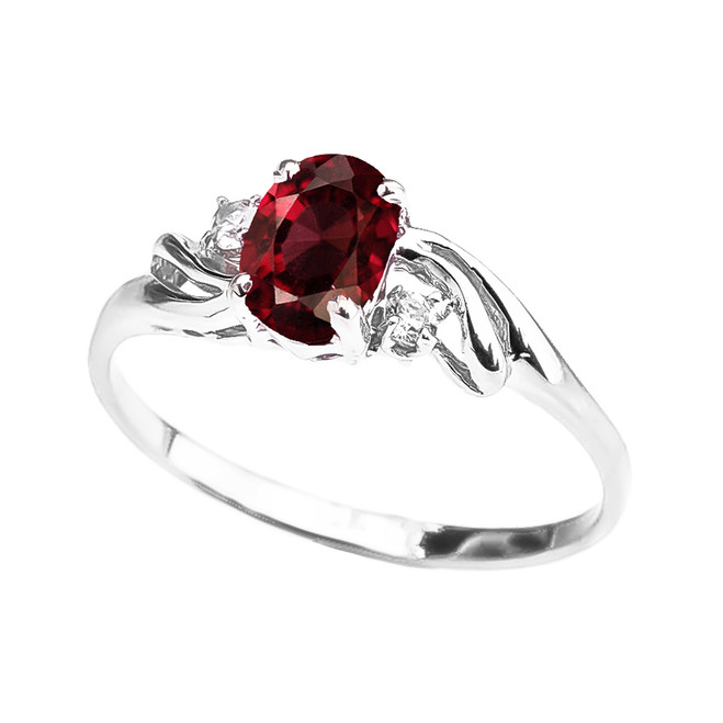 White Gold Garnet Oval Solitaire Proposal Ring