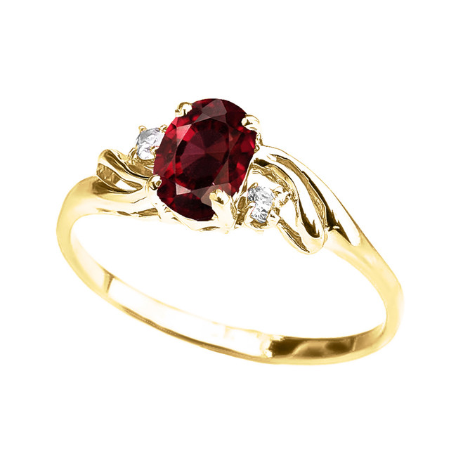 Yellow Gold Garnet Oval Solitaire Proposal Ring