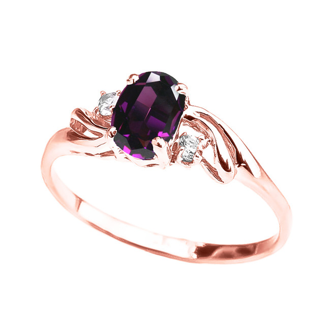 Rose Gold Amethyst Oval Solitaire Proposal Ring