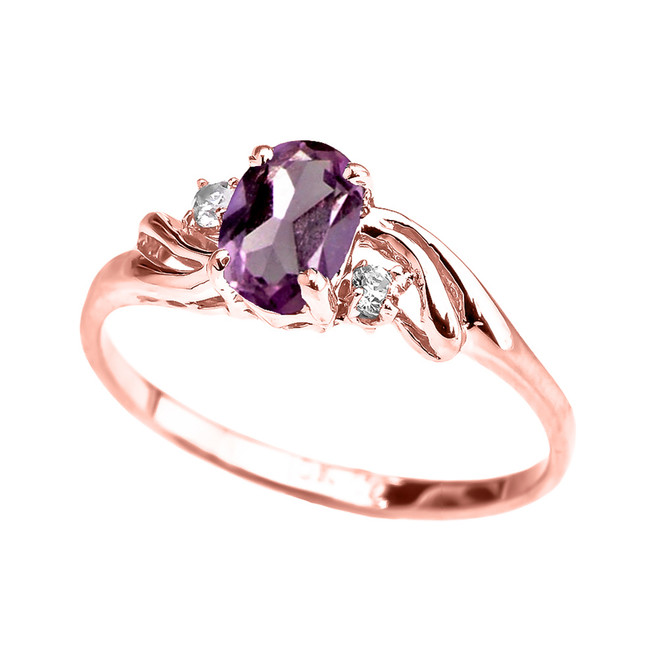 Rose Gold CZ Alexandrite Oval Solitaire Proposal Ring