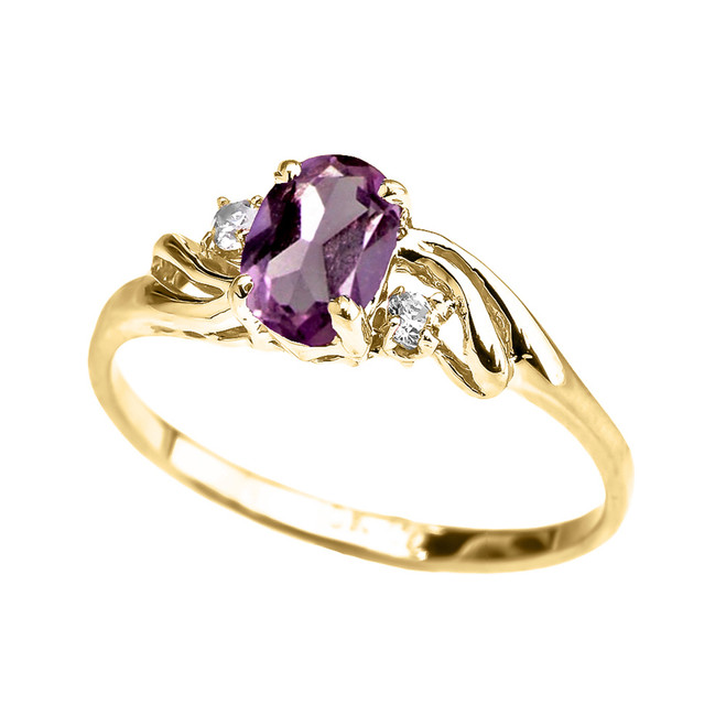 Yellow Gold CZ Alexandrite Oval Solitaire Proposal Ring