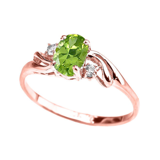 Rose Gold CZ Peridot Oval Solitaire Proposal Ring