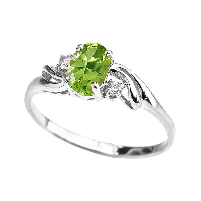 White Gold CZ Peridot Oval Solitaire Proposal Ring