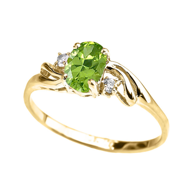 Yellow Gold CZ Peridot Oval Solitaire Proposal Ring