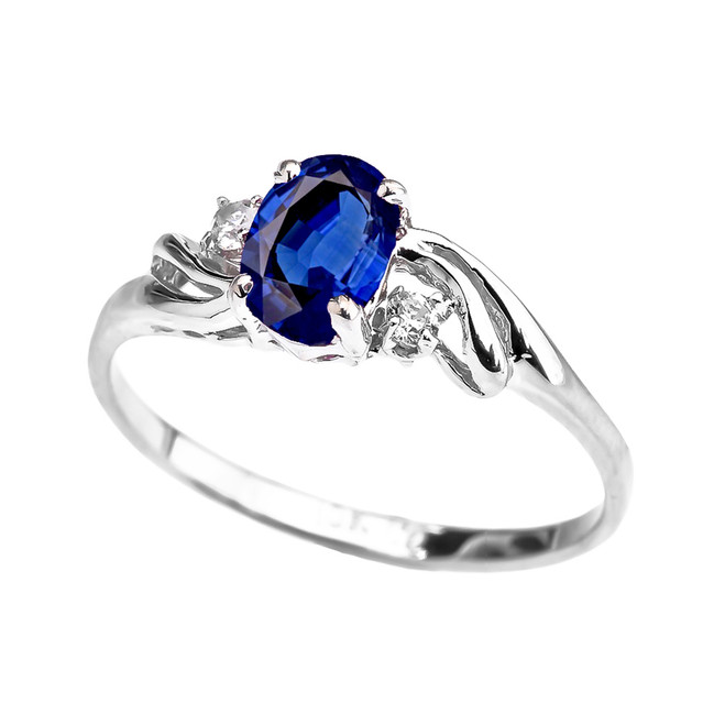White Gold CZ Sapphire Oval Solitaire Proposal Ring
