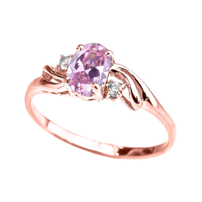 Rose Gold CZ Pink Oval Solitaire Proposal Ring